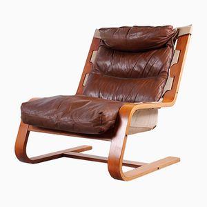Sedia cantilever in pelle e lino, Germania, anni '60