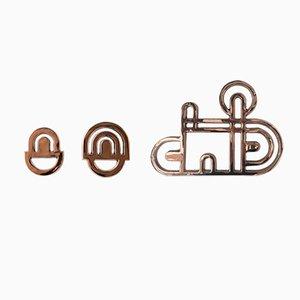 Appendiabiti in bronzo di Alessandro Zambelli per Portego, set di 3