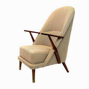 Mid-Century Sessel in Gebrochenem Weiß