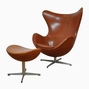 Danish Egg Chair and Footstool by Arne Jacobsen for Fritz Hansen, 1960s