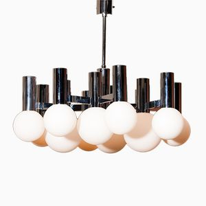 Chrome and Glass Chandelier by Sciolari for Boulanger, 1970s