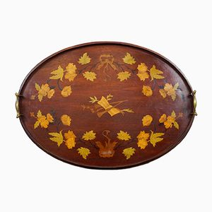 Oval English Mahogany Inlaid Serving Tray, 1870s
