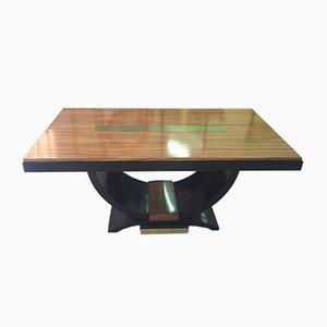 French Art Deco Zebra Wood & Brass Table, 1930s