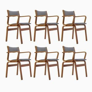 Sedie vintage in legno curvato e teak, Danimarca, set di 6