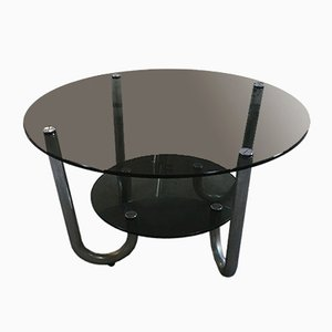 Italian Side Table in Chrome with Smoked Glass, 1970s