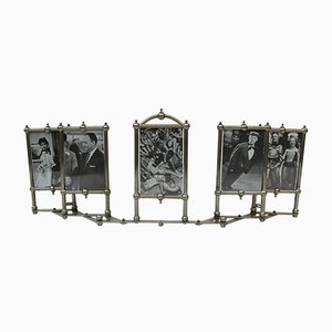 Art Nouveau Nickel Plated Picture Frame for 5 Photos