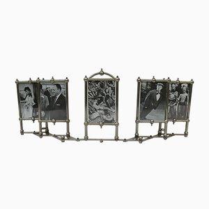 Cornice Art Nouveau per 5 foto placcata in nichel