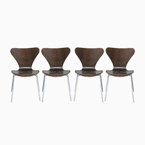 3107 Brown Chairs by Arne Jacobsen for Fritz Hansen, 1976, Set of 4