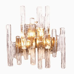 Vintage Ice Glass Wall Sconce by J. T. Kalmar