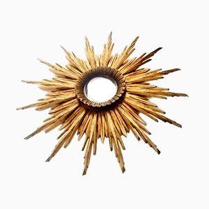 Specchio a forma di sole dorato intagliato a mano, anni '40