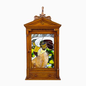 Art Nouveau Hanging Cabinet with Lead Glass Picture, 1900s