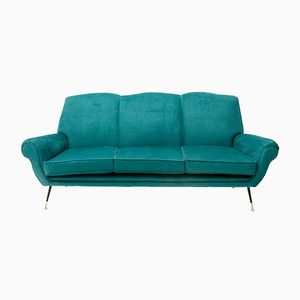 Italian 3-Seater Velvet Sofa, 1950s