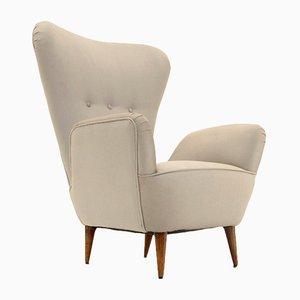 Italian Highback Armchair with Conical Shape Legs, 1950s