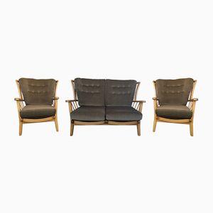 Wohnzimmergruppe aus Buche und Ulme von Priory Furniture, 1960er, 3er Set