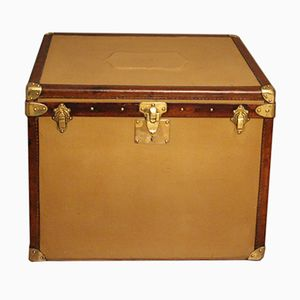 Beige Canvas Steamer Trunk, 1930s