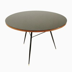 Round Black Veneer & Glass Top Table, 1950s