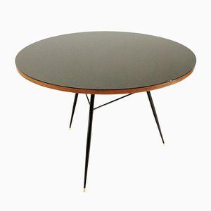 Tavolo rotondo nero con ripiano in vetro, anni '50