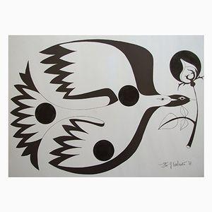 Litografia incorniciata di Gilbert Valentin, 1977