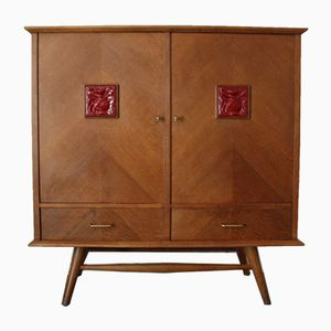 Vintage Oak and Ceramic Sideboard, 1950s