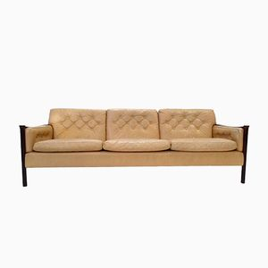 Mid-Century Cream Leather & Rosewood 3-Seater Sofa by Torbjorn Afdal