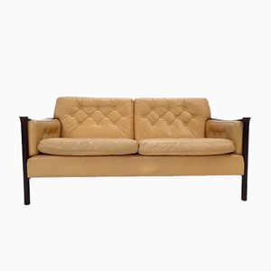 Mid-Century Cream Leather & Rosewood 2-Seater Sofa by Torbjorn Afdal