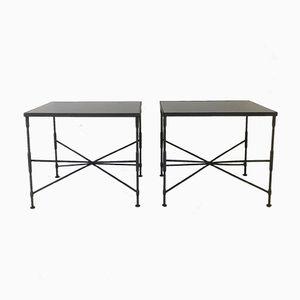 Tavolini da caffè in metallo nero, anni '70, set di 2