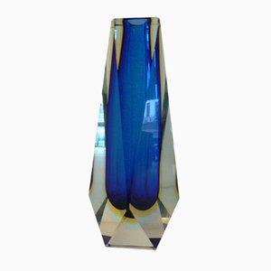 Facettierte Vintage Sommerso Vase in Dunkelblau & Bernsteingelb von Alessandro Mandruzzato