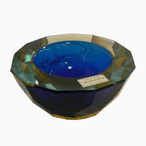 Deep Blue and Amber Faceted Sommerso Bowl by Alessandro Mandruzzato, 1950s