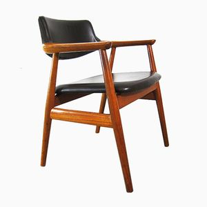 Vintage Teak and Leather Chairs by Svend-Aage Eriksen for Glostrup, Set of 4