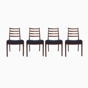Britische Esszimmerstühle aus Teak & Blauer Wolle von G-Plan, 1960er, 4er Set