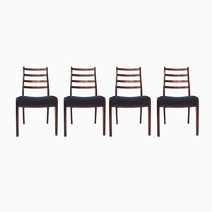 British Teak & Blue Wool Dining Chairs from G-Plan, 1960s, Set of 4
