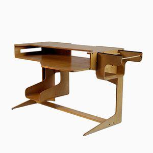 Geschwungener Schreibtisch aus Schichtholz, 1980er