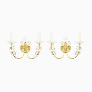 Goldene Kristall-Wandleuchten, 1960er, 2er Set
