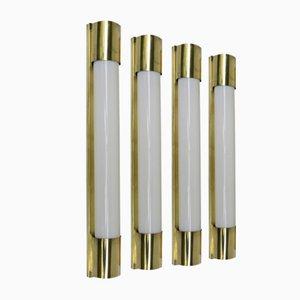 Art Deco Brass Wall Lights, Set of 4