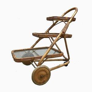 Vintage Servierwagen aus Bambus und Rattan von Rohé Noordwolde