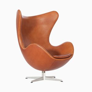 Egg Chair in Cognac Leather by Arne Jacobsen for Fritz Hansen, 1960s
