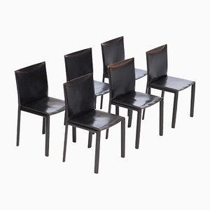 Black Leather Chairs by Studio Grassi & Bianchi for Pellizoni Pasqualina, 1980s, Set of 6