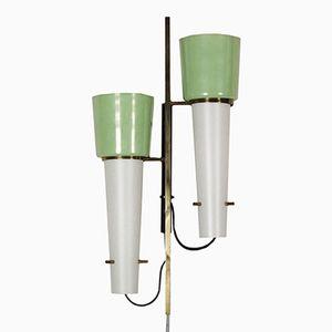 Lampada da parete vintage in metallo e vetro