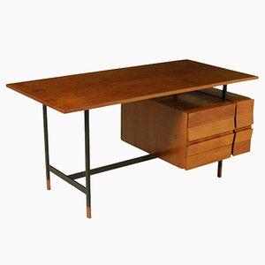 Teak Furnier Schreibtisch mit Schubladen, 1960er
