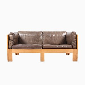 Oak Sofa in Leather by Tage Poulsen, 1970s