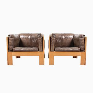 Oak Lounge Chairs from Tage Poulsen, 1970s, Set of 2