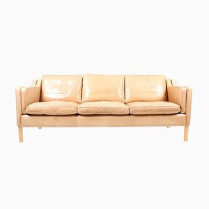 Danish 3-Seater Leather Eva Sofa from Stouby, 1980s