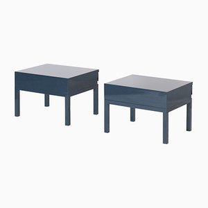 Petrol Blue Lacquered Bed Side Tables by Emiel Veranneman, 1980s, Set of 2