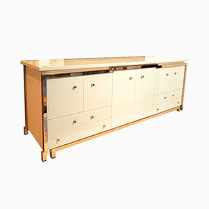 Sideboard with Lacquered Golden Brass Structure by Maison Jansen, 1980s