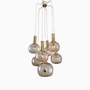 Brass and Glass Globes Chandelier from Raak Amsterdam, 1970s