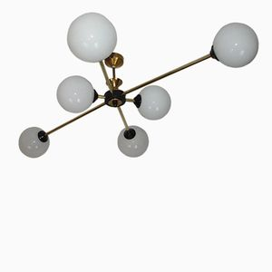 Mid-Century Chandelier with Glass Globes