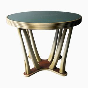 Table Vintage de Style Art Déco en Bois et Verre