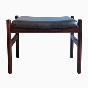 Vintage Palisander and Black Faux Leather Footstool