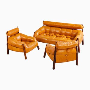 Vintage Leather Seating Group by Percival Lafer