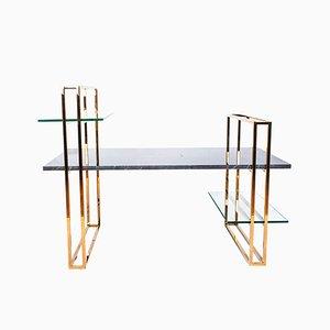 Table Basse Attached en Marbre avec une Structure en Cuivre